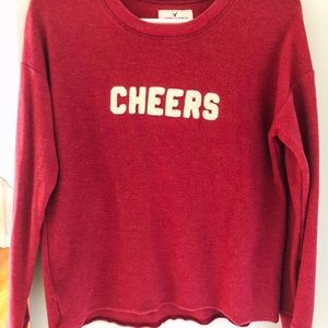 American Eagle Outfitters Red Cheers Crew Neck Swe